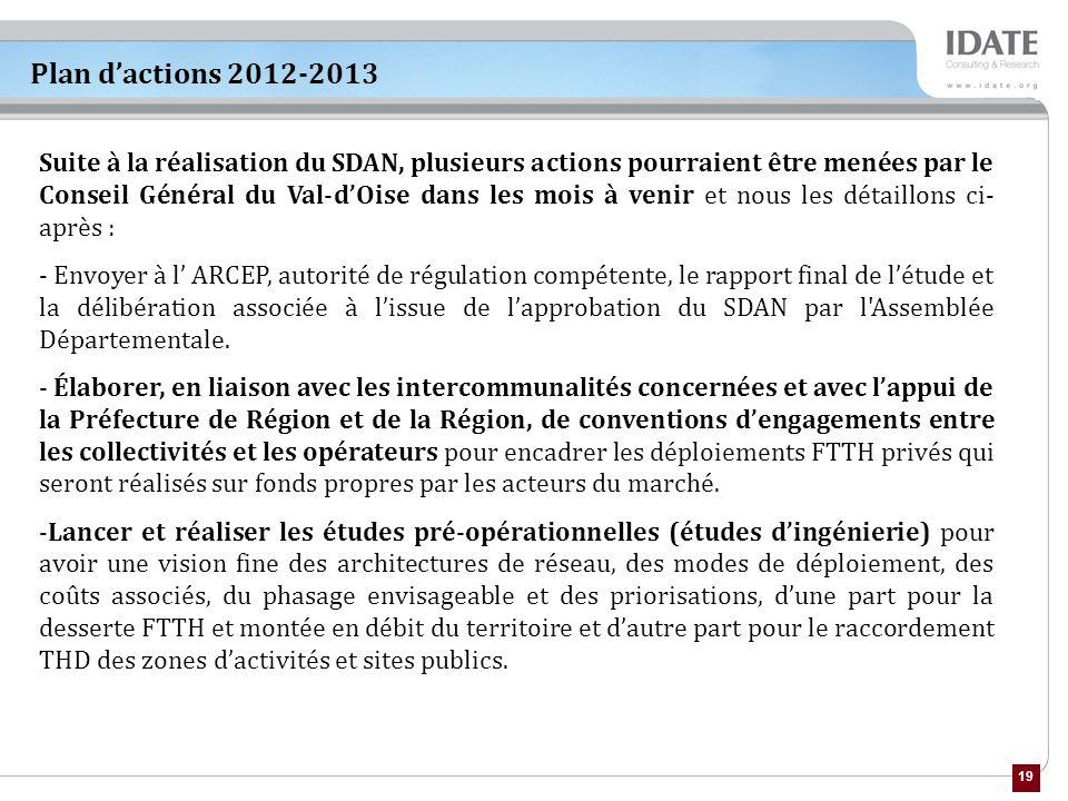 19 Plan dactions 2012-2013 Suite à la réalisation du SDAN, plusieurs actions pourraient être menées par le Conseil Général du Val-dOise dans les mois à venir et nous les détaillons ci- après : - Envoyer à l ARCEP, autorité de régulation compétente, le rapport final de létude et la délibération associée à lissue de lapprobation du SDAN par l Assemblée Départementale.