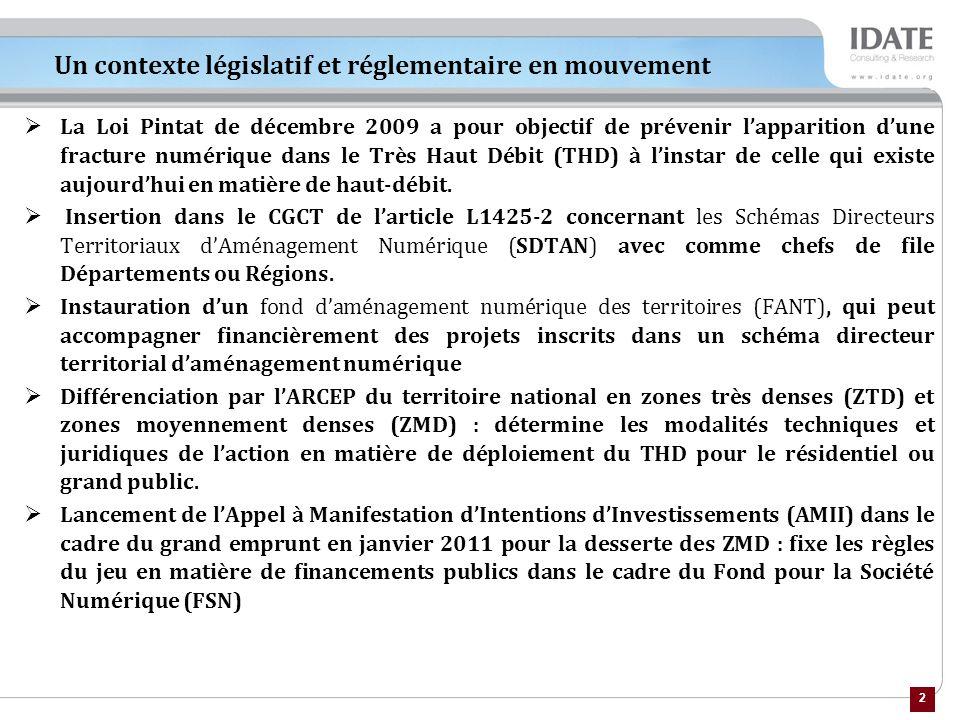 2 Un contexte législatif et réglementaire en mouvement La Loi Pintat de décembre 2009 a pour objectif de prévenir lapparition dune fracture numérique dans le Très Haut Débit (THD) à linstar de celle qui existe aujourdhui en matière de haut-débit.