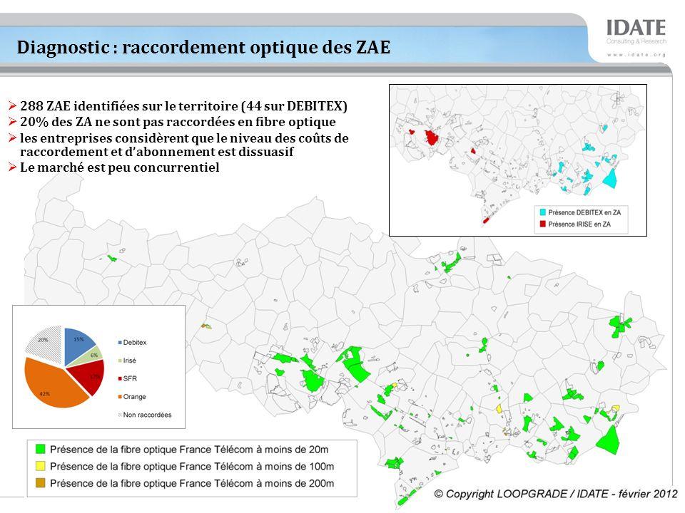 8 Diagnostic : raccordement optique des ZAE 288 ZAE identifiées sur le territoire (44 sur DEBITEX) 20% des ZA ne sont pas raccordées en fibre optique les entreprises considèrent que le niveau des coûts de raccordement et dabonnement est dissuasif Le marché est peu concurrentiel