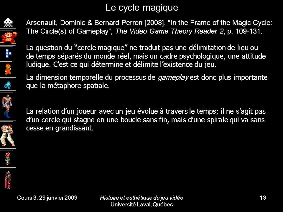 Cours 3: 29 janvier 2009Histoire et esthétique du jeu vidéo Université Laval, Québec 13 Le cycle magique Arsenault, Dominic & Bernard Perron [2008].