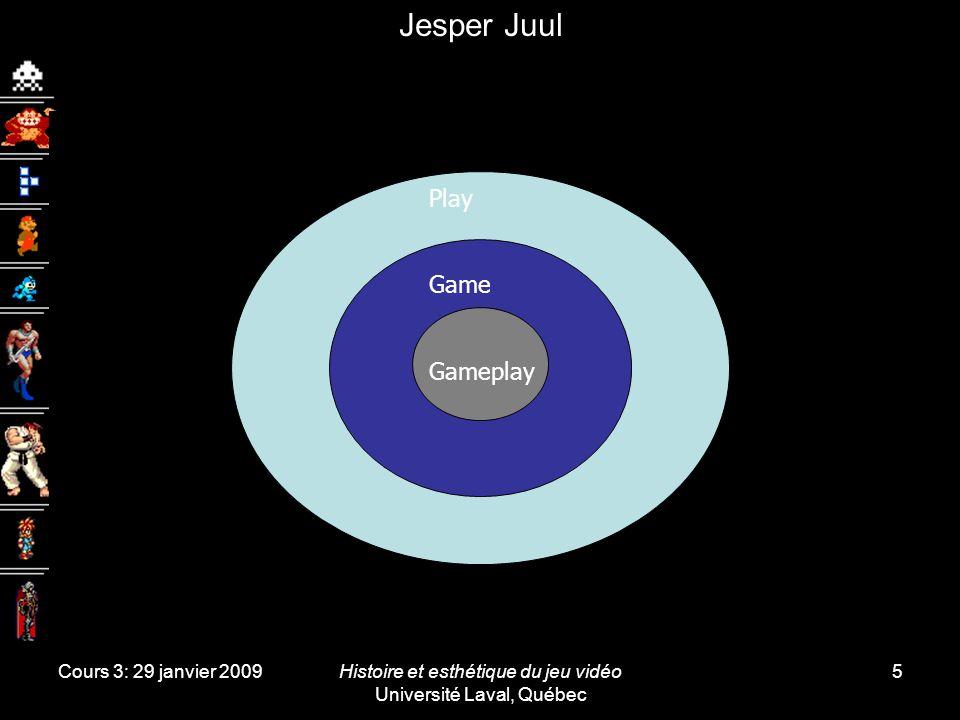 Cours 3: 29 janvier 2009Histoire et esthétique du jeu vidéo Université Laval, Québec 5 Jesper Juul Nouvelle définition Règles Résultat variable et quantifiable Déroulement variable et quantifiable .