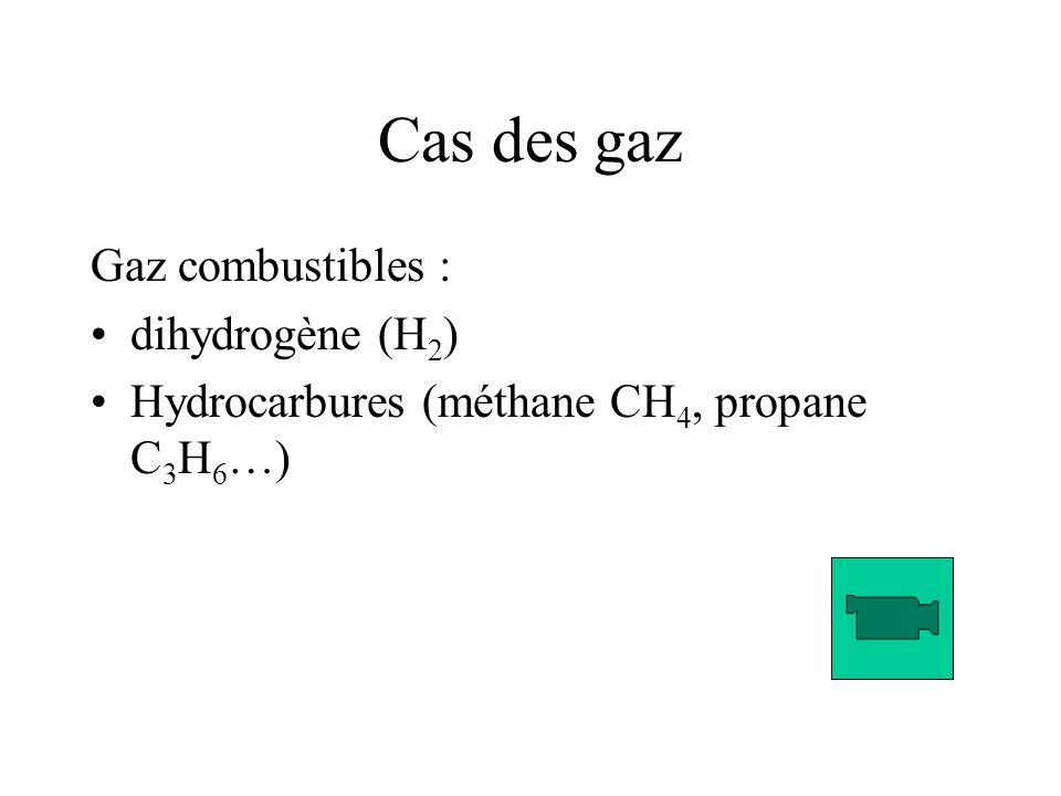Cas des gaz Gaz combustibles : dihydrogène (H 2 ) Hydrocarbures (méthane CH 4, propane C 3 H 6 …)