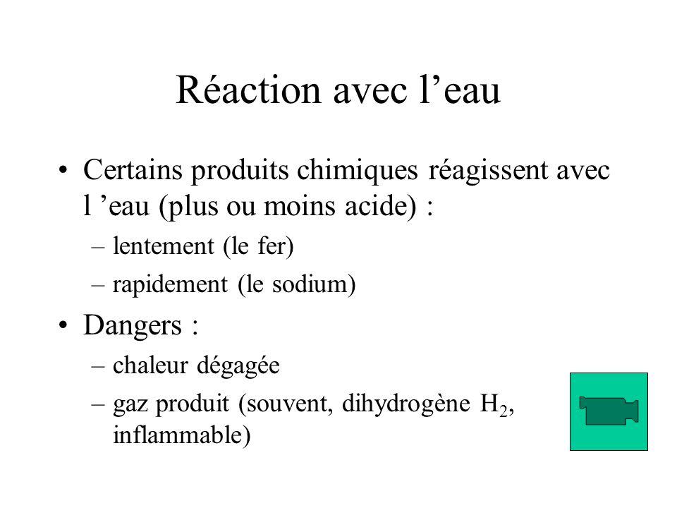 Réaction avec leau Certains produits chimiques réagissent avec l eau (plus ou moins acide) : –lentement (le fer) –rapidement (le sodium) Dangers : –chaleur dégagée –gaz produit (souvent, dihydrogène H 2, inflammable)