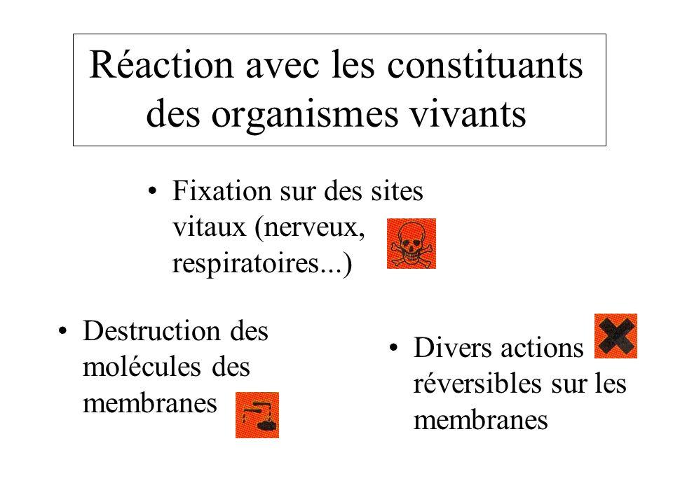 Réaction avec les constituants des organismes vivants Destruction des molécules des membranes Fixation sur des sites vitaux (nerveux, respiratoires...) Divers actions réversibles sur les membranes