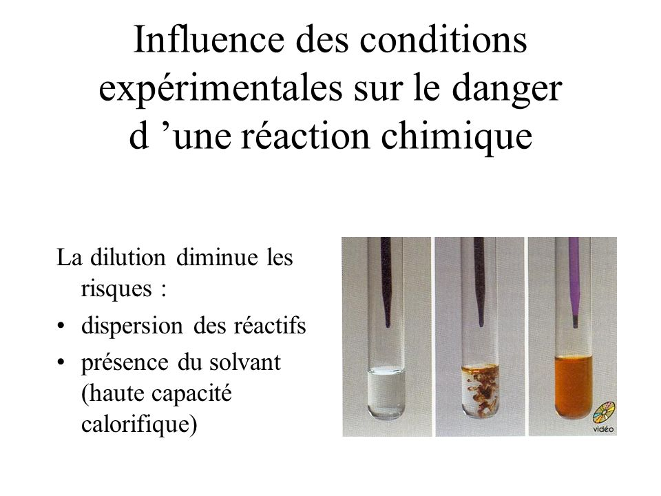 Influence des conditions expérimentales sur le danger d une réaction chimique La dilution diminue les risques : dispersion des réactifs présence du solvant (haute capacité calorifique)