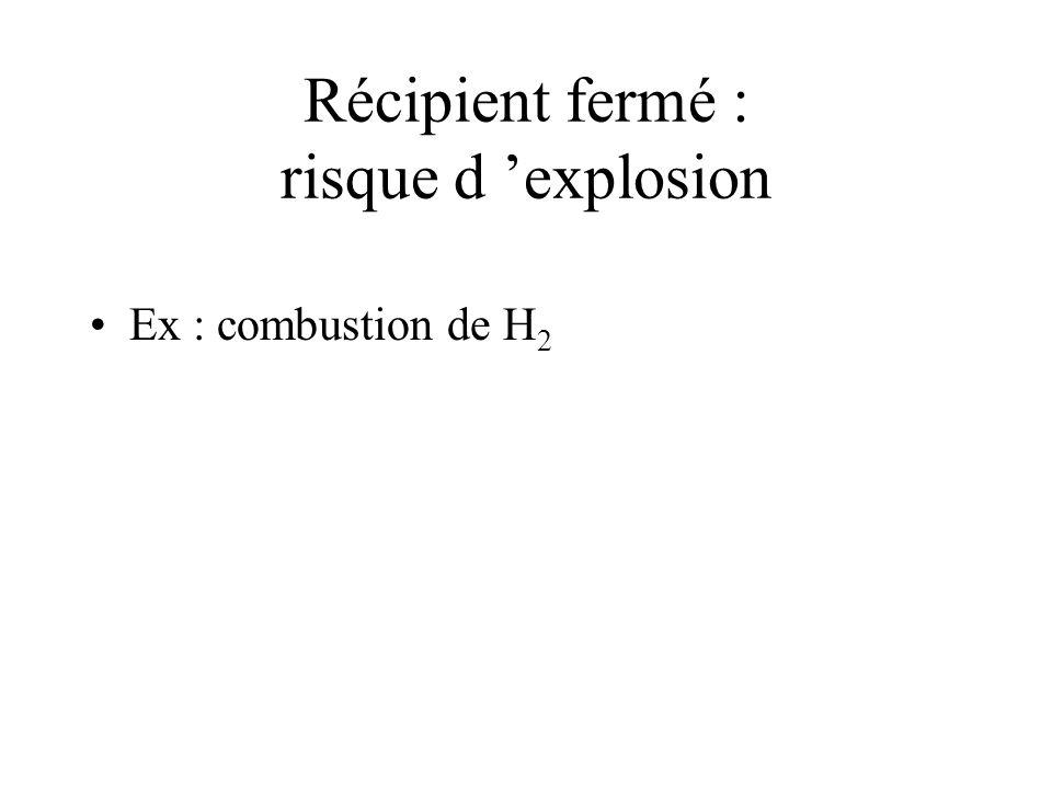 Récipient fermé : risque d explosion Ex : combustion de H 2