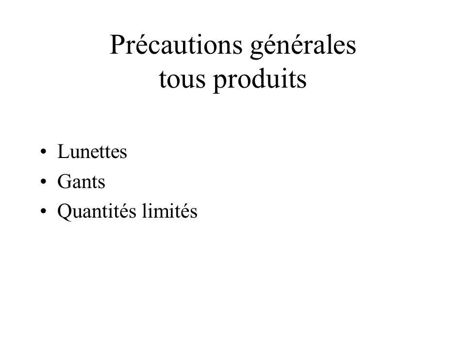Précautions générales tous produits Lunettes Gants Quantités limités