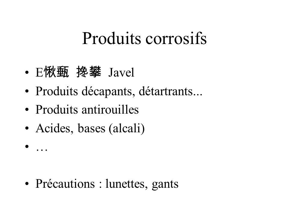 Produits corrosifs E Javel Produits décapants, détartrants...
