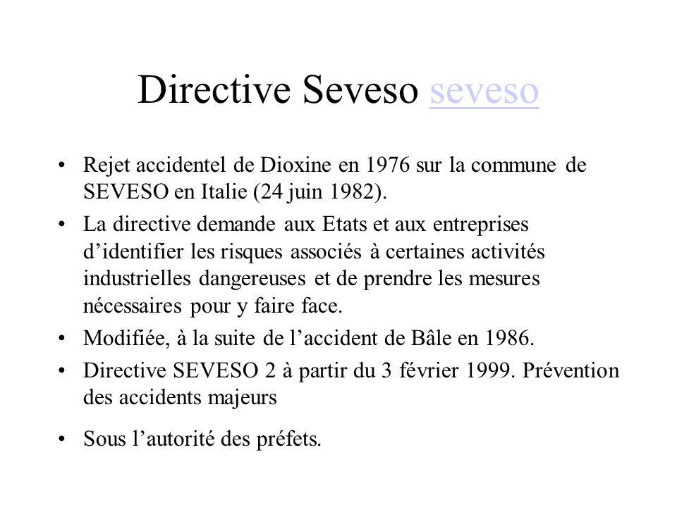 Directive Seveso sevesoseveso Rejet accidentel de Dioxine en 1976 sur la commune de SEVESO en Italie (24 juin 1982).