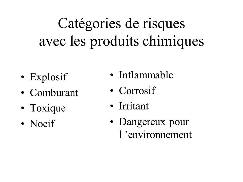 Catégories de risques avec les produits chimiques Explosif Comburant Toxique Nocif Inflammable Corrosif Irritant Dangereux pour l environnement