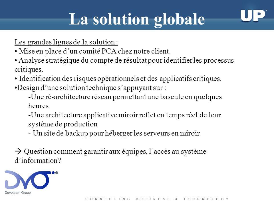 C O N N E C T I N G B U S I N E S S & T E C H N O L O G Y La solution globale Les grandes lignes de la solution : Mise en place dun comité PCA chez notre client.