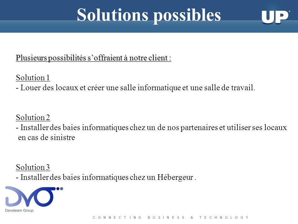 C O N N E C T I N G B U S I N E S S & T E C H N O L O G Y Solutions possibles Plusieurs possibilités soffraient à notre client : Solution 1 - Louer de