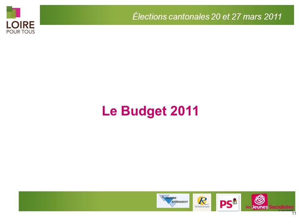 Le Budget 2011 Élections cantonales 20 et 27 mars 2011 11