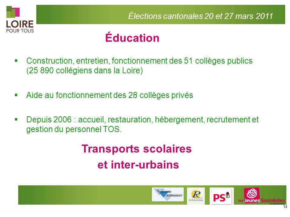 Éducation Élections cantonales 20 et 27 mars 2011 Construction, entretien, fonctionnement des 51 collèges publics (25 890 collégiens dans la Loire) Ai