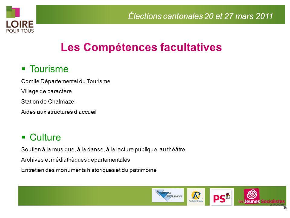 Les Compétences facultatives Élections cantonales 20 et 27 mars 2011 Tourisme Comité Départemental du Tourisme Village de caractère Station de Chalmaz