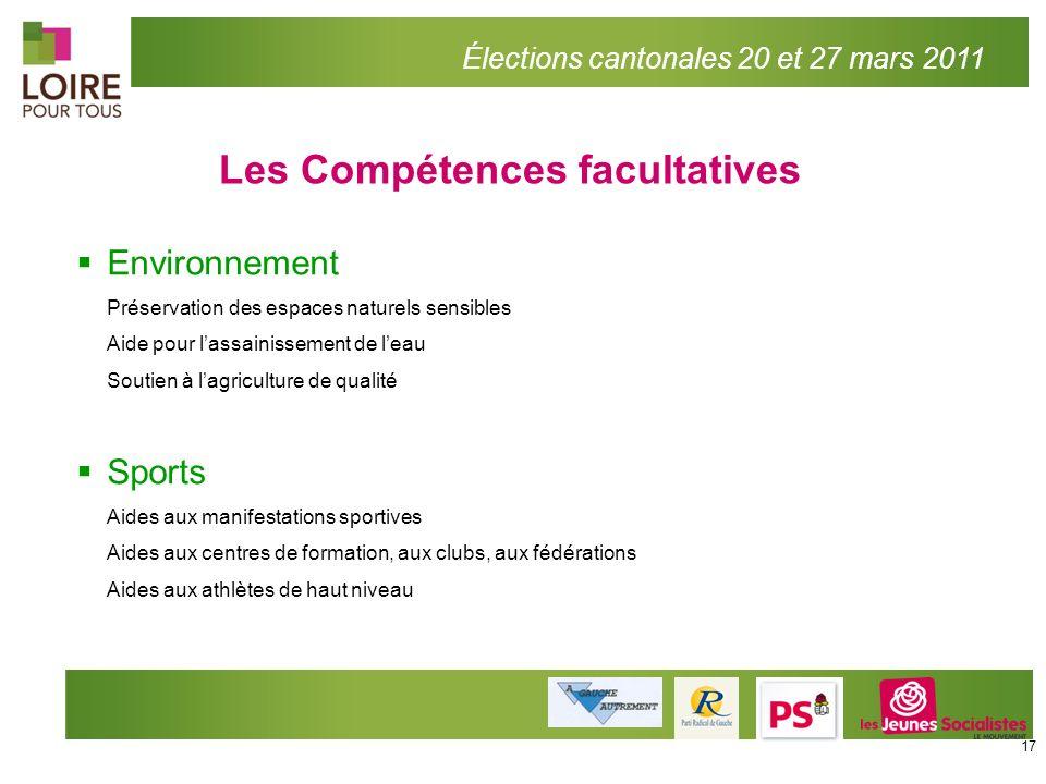 Les Compétences facultatives Élections cantonales 20 et 27 mars 2011 Environnement Préservation des espaces naturels sensibles Aide pour lassainisseme