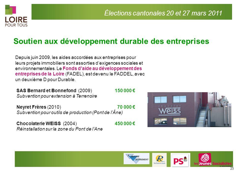 Élections cantonales 20 et 27 mars 2011 Soutien aux développement durable des entreprises Depuis juin 2009, les aides accordées aux entreprises pour l