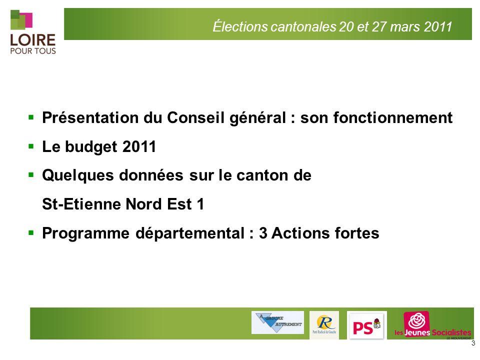 Présentation du Conseil général : son fonctionnement Le budget 2011 Quelques données sur le canton de St-Etienne Nord Est 1 Programme départemental :