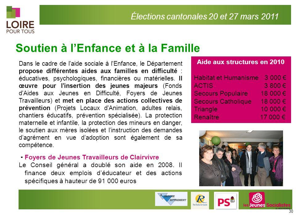 Soutien à lEnfance et à la Famille Élections cantonales 20 et 27 mars 2011 Aide aux structures en 2010 Habitat et Humanisme 3 000 ACTIS 3 800 Secours