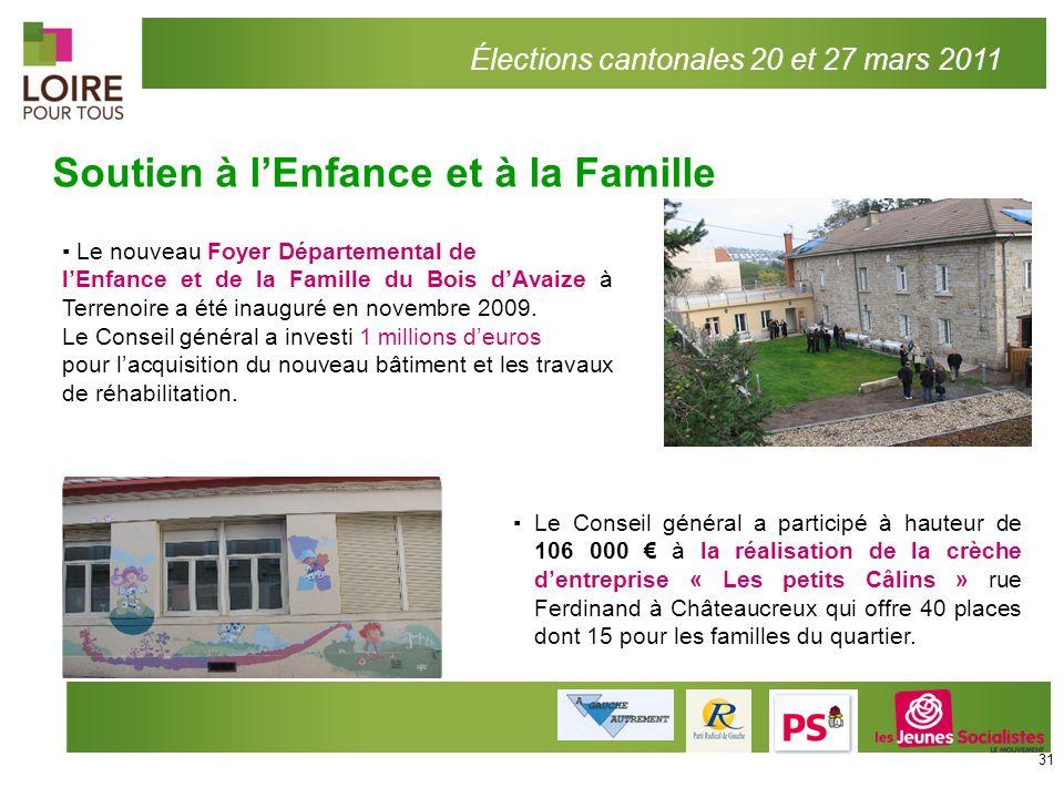 Soutien à lEnfance et à la Famille Élections cantonales 20 et 27 mars 2011 Le Conseil général a participé à hauteur de 106 000 à la réalisation de la