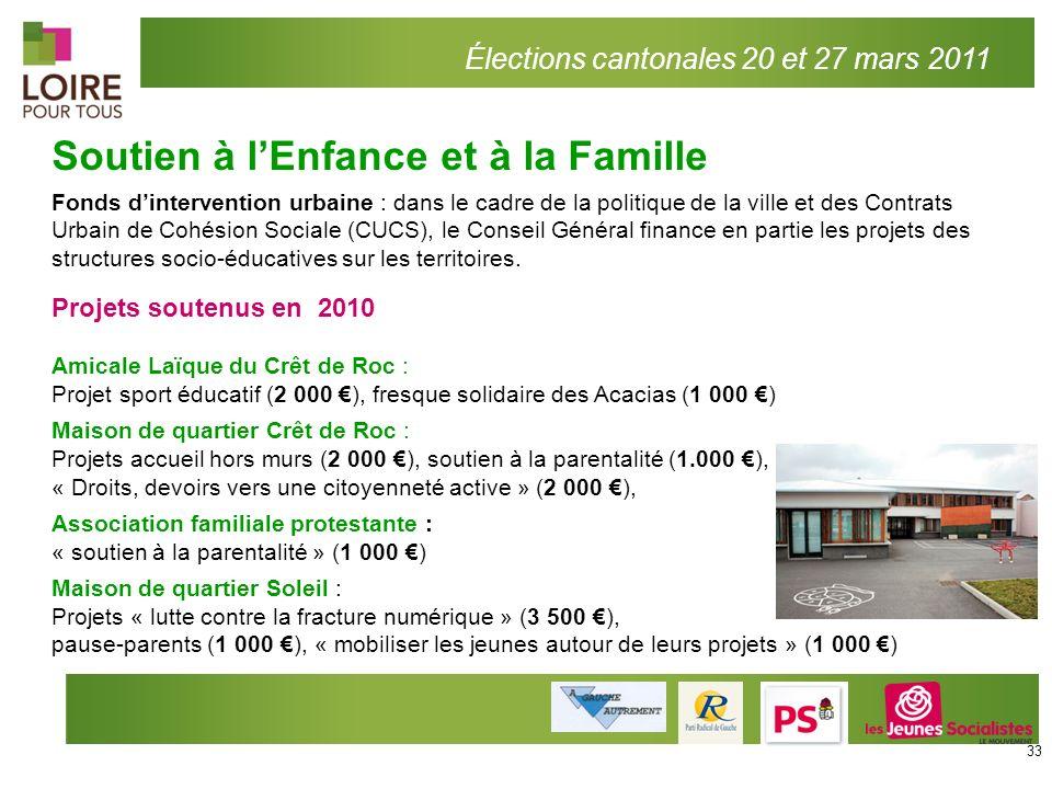Soutien à lEnfance et à la Famille Élections cantonales 20 et 27 mars 2011 Fonds dintervention urbaine : dans le cadre de la politique de la ville et