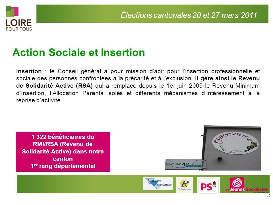 Action Sociale et Insertion Élections cantonales 20 et 27 mars 2011 Insertion : le Conseil général a pour mission dagir pour linsertion professionnell
