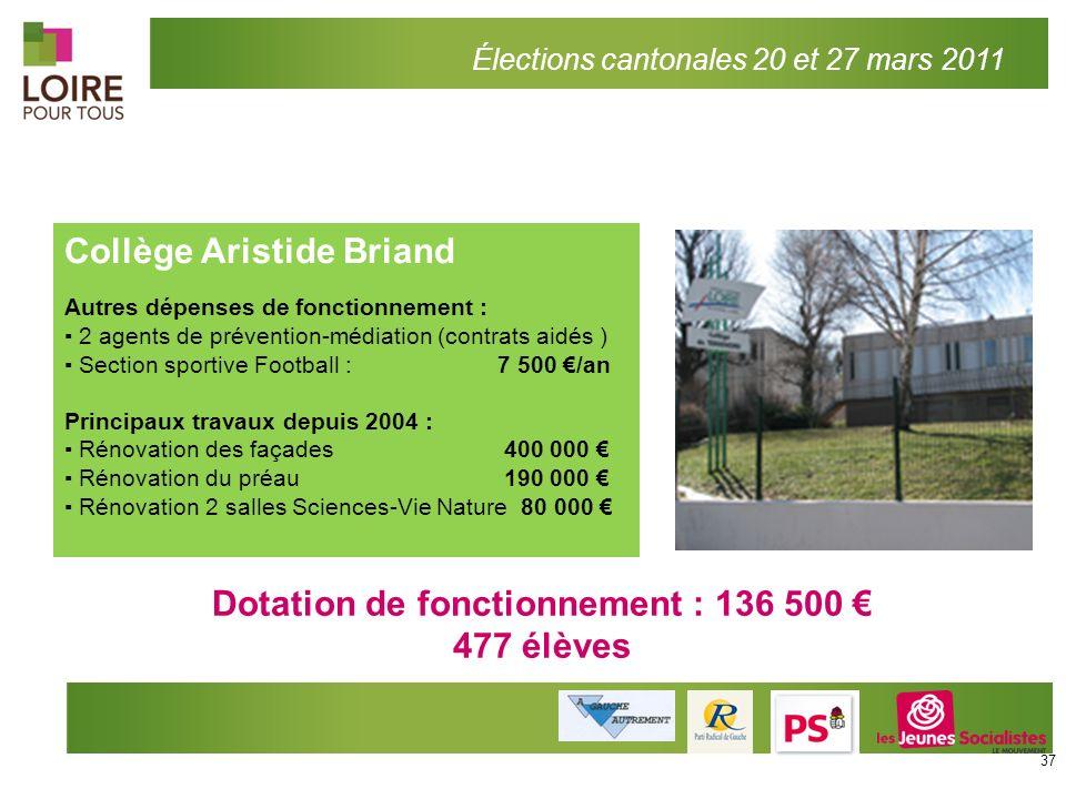 Collège Aristide Briand Autres dépenses de fonctionnement : 2 agents de prévention-médiation (contrats aidés ) Section sportive Football : 7 500 /an P