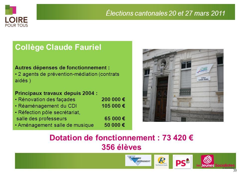Élections cantonales 20 et 27 mars 2011 Collège Claude Fauriel Autres dépenses de fonctionnement : 2 agents de prévention-médiation (contrats aidés )