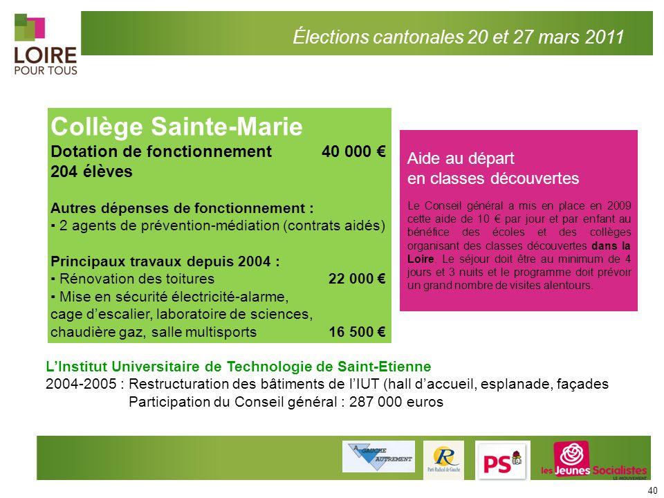 Élections cantonales 20 et 27 mars 2011 Collège Sainte-Marie Dotation de fonctionnement 40 000 204 élèves Autres dépenses de fonctionnement : 2 agents