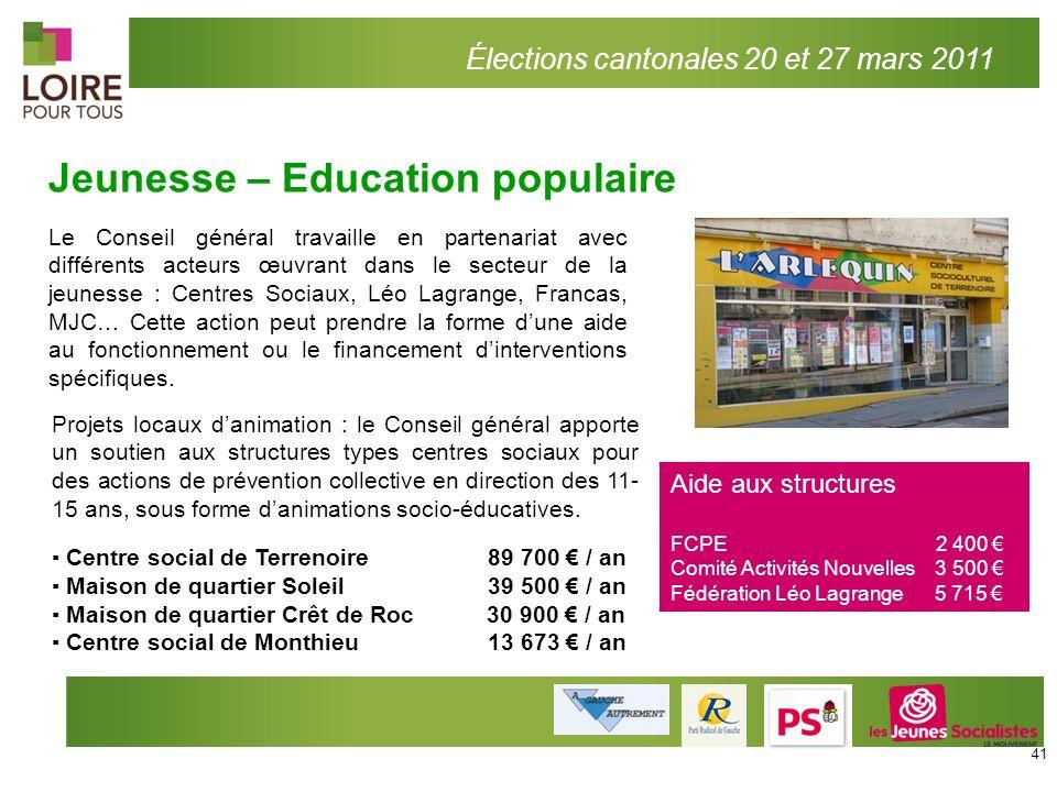 Élections cantonales 20 et 27 mars 2011 Jeunesse – Education populaire Le Conseil général travaille en partenariat avec différents acteurs œuvrant dan