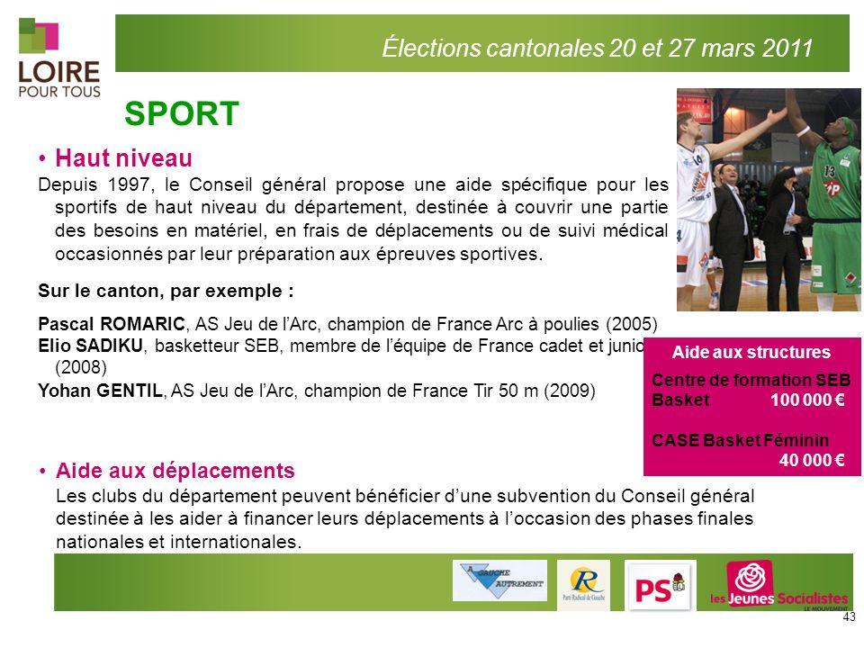 Haut niveau Depuis 1997, le Conseil général propose une aide spécifique pour les sportifs de haut niveau du département, destinée à couvrir une partie