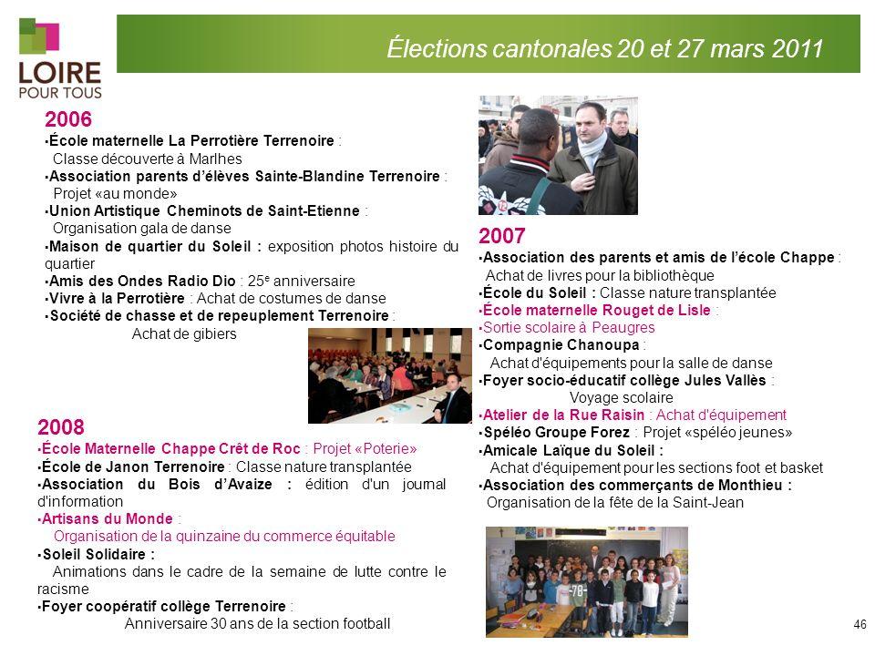Élections cantonales 20 et 27 mars 2011 2007 Association des parents et amis de lécole Chappe : Achat de livres pour la bibliothèque École du Soleil :