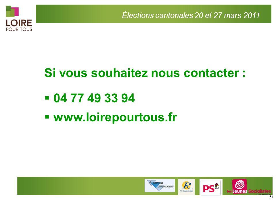 Si vous souhaitez nous contacter : 04 77 49 33 94 www.loirepourtous.fr Élections cantonales 20 et 27 mars 2011 51