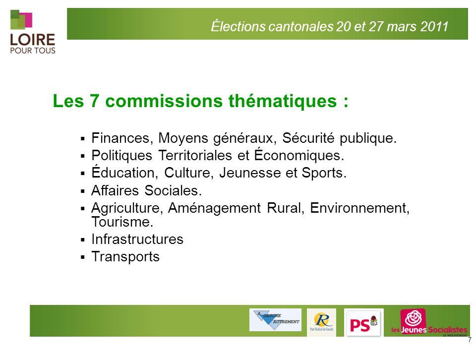 Les 7 commissions thématiques : Finances, Moyens généraux, Sécurité publique. Politiques Territoriales et Économiques. Éducation, Culture, Jeunesse et