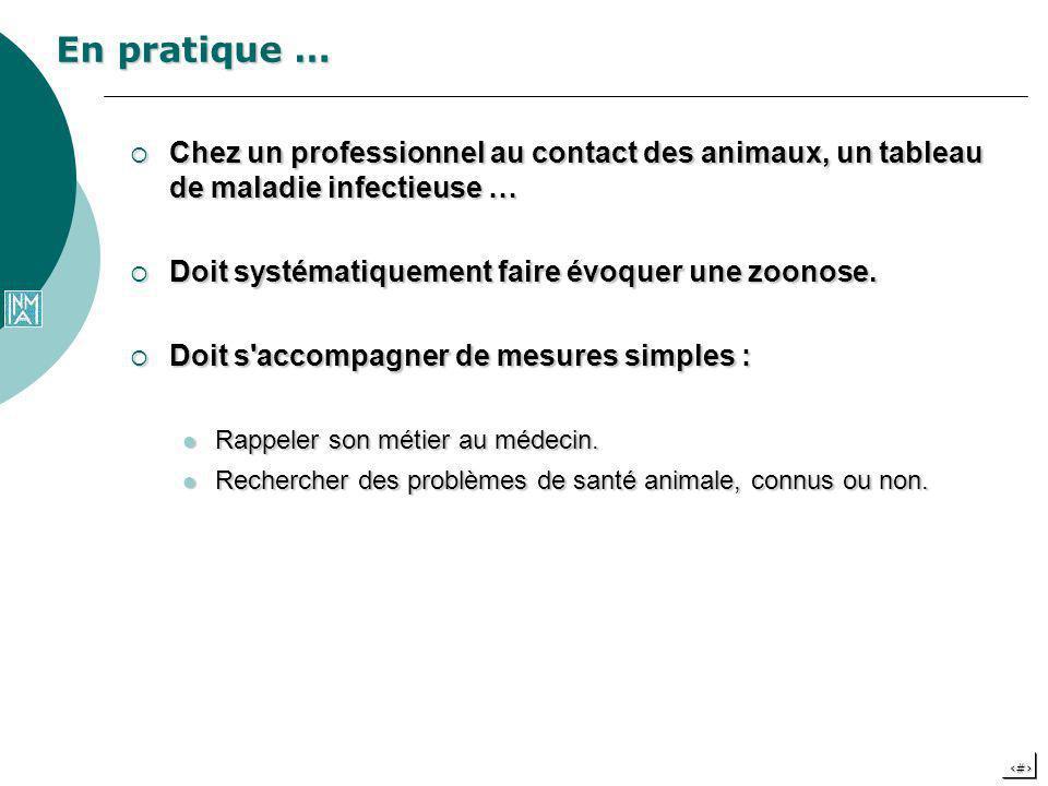 13 En pratique … Chez un professionnel au contact des animaux, un tableau de maladie infectieuse … Chez un professionnel au contact des animaux, un ta