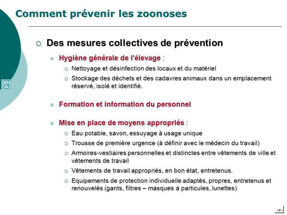 21 Comment prévenir les zoonoses Des mesures collectives de prévention Des mesures collectives de prévention Hygiène générale de l'élevage : Hygiène g