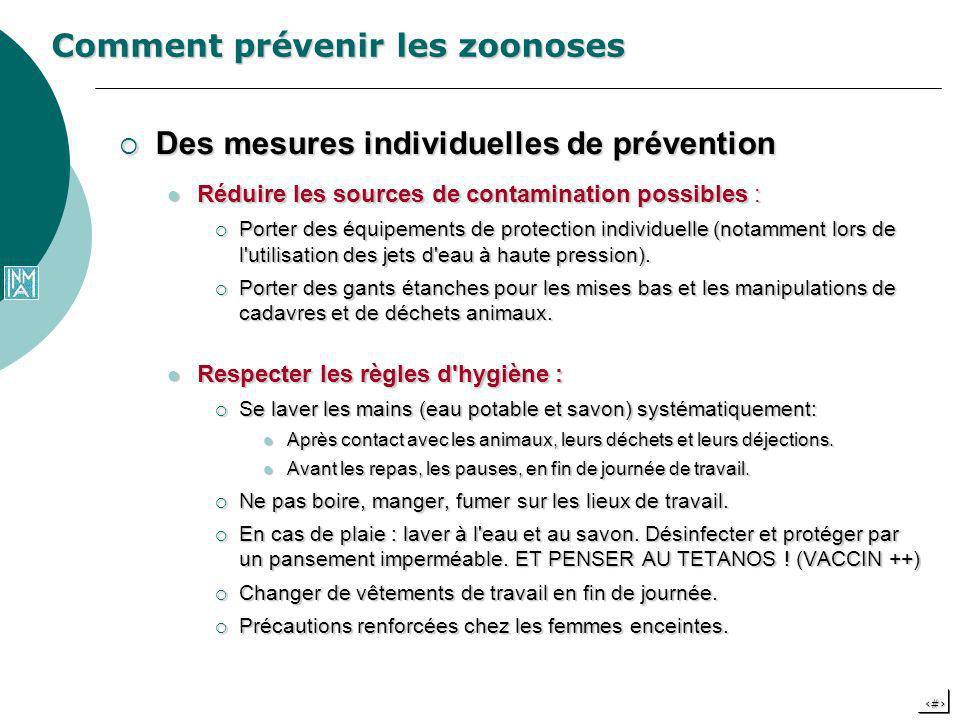 22 Comment prévenir les zoonoses Des mesures individuelles de prévention Des mesures individuelles de prévention Réduire les sources de contamination
