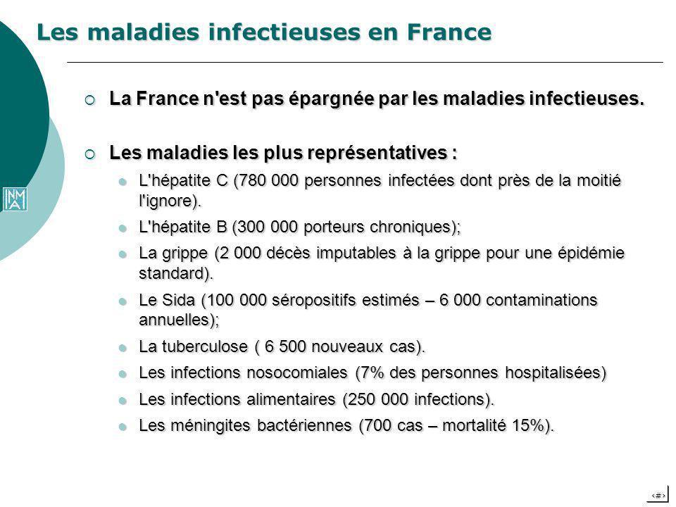 5 La France n'est pas épargnée par les maladies infectieuses. La France n'est pas épargnée par les maladies infectieuses. Les maladies les plus représ