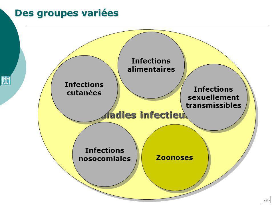 6 Des groupes variées Maladies infectieuses Infections cutanées Infections alimentaires Infections sexuellement transmissibles Infections nosocomiales
