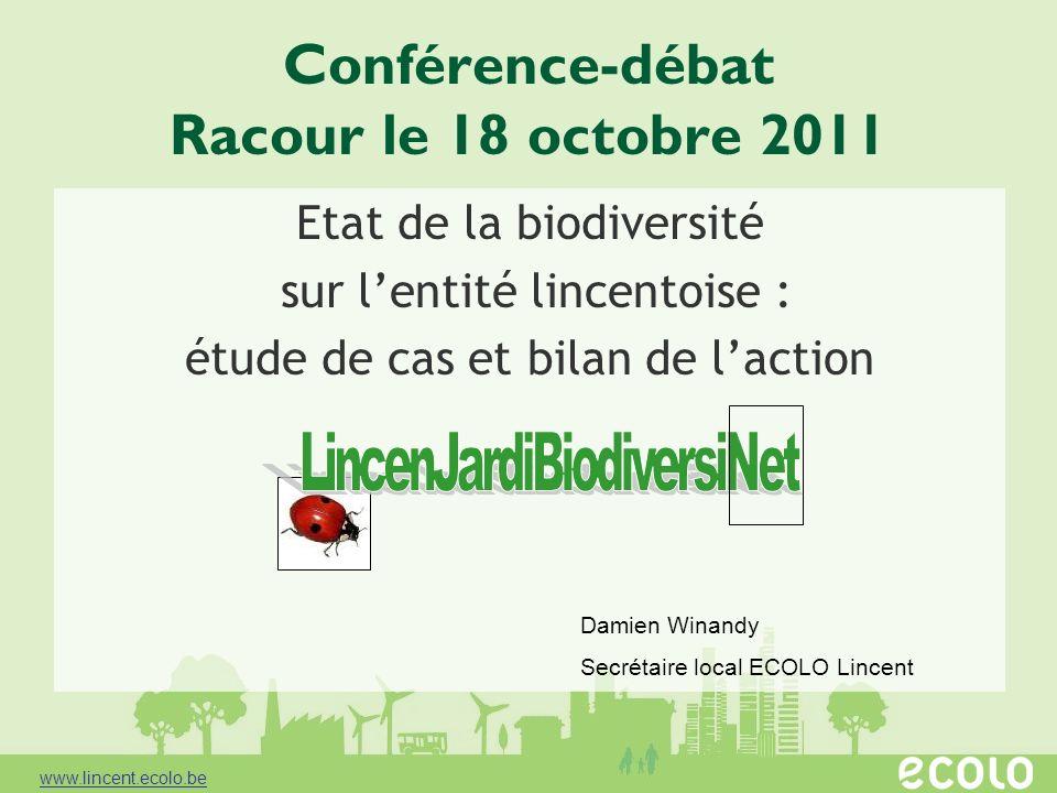 www.lincent.ecolo.be Conférence-débat Racour le 18 octobre 2011 Etat de la biodiversité sur lentité lincentoise : étude de cas et bilan de laction Dam
