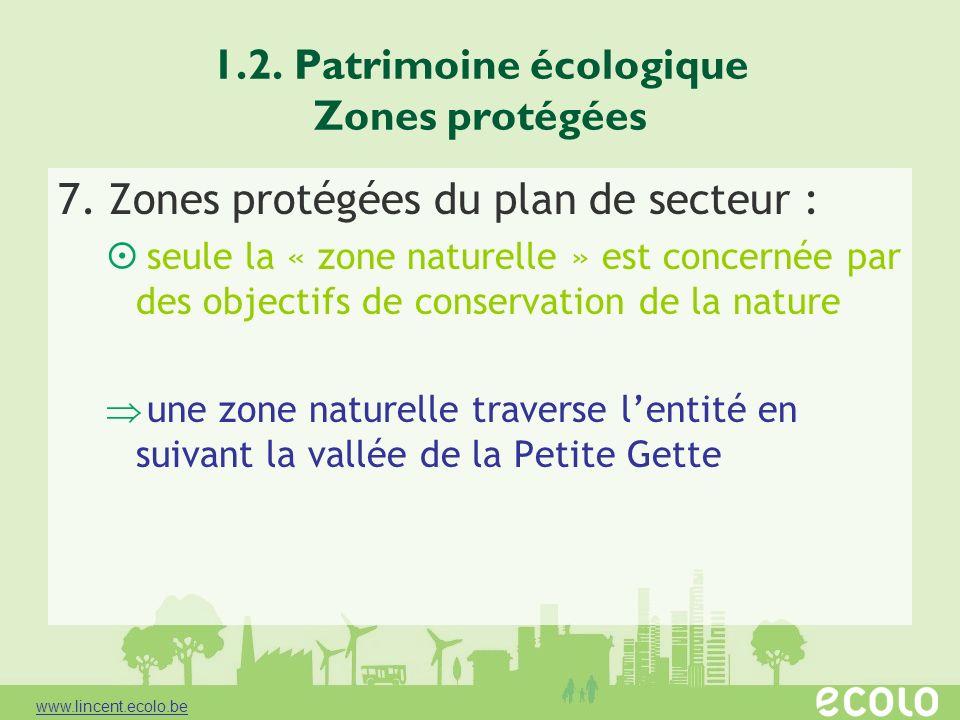 1.2. Patrimoine écologique Zones protégées 7. Zones protégées du plan de secteur : seule la « zone naturelle » est concernée par des objectifs de cons