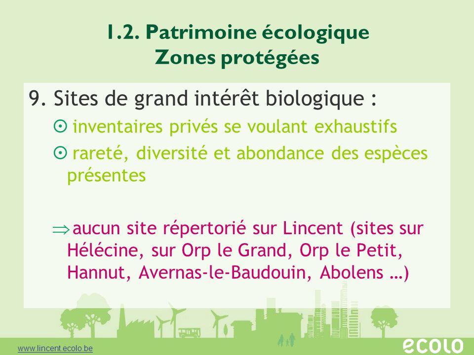 1.2. Patrimoine écologique Zones protégées 9. Sites de grand intérêt biologique : inventaires privés se voulant exhaustifs rareté, diversité et abonda