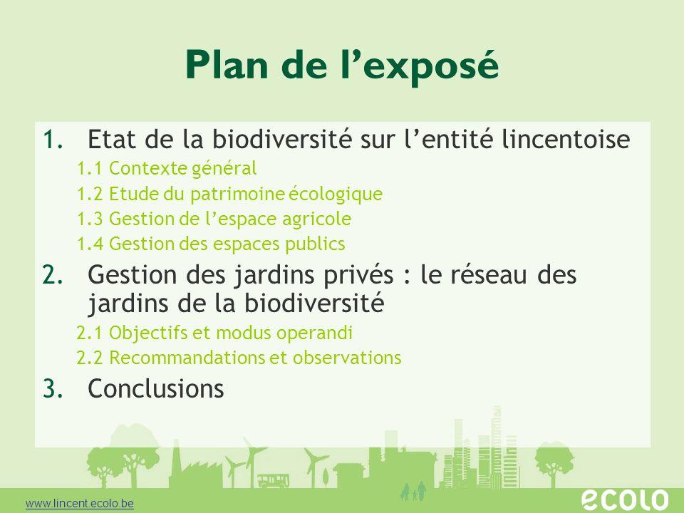 Plan de lexposé 1.Etat de la biodiversité sur lentité lincentoise 1.1 Contexte général 1.2 Etude du patrimoine écologique 1.3 Gestion de lespace agric