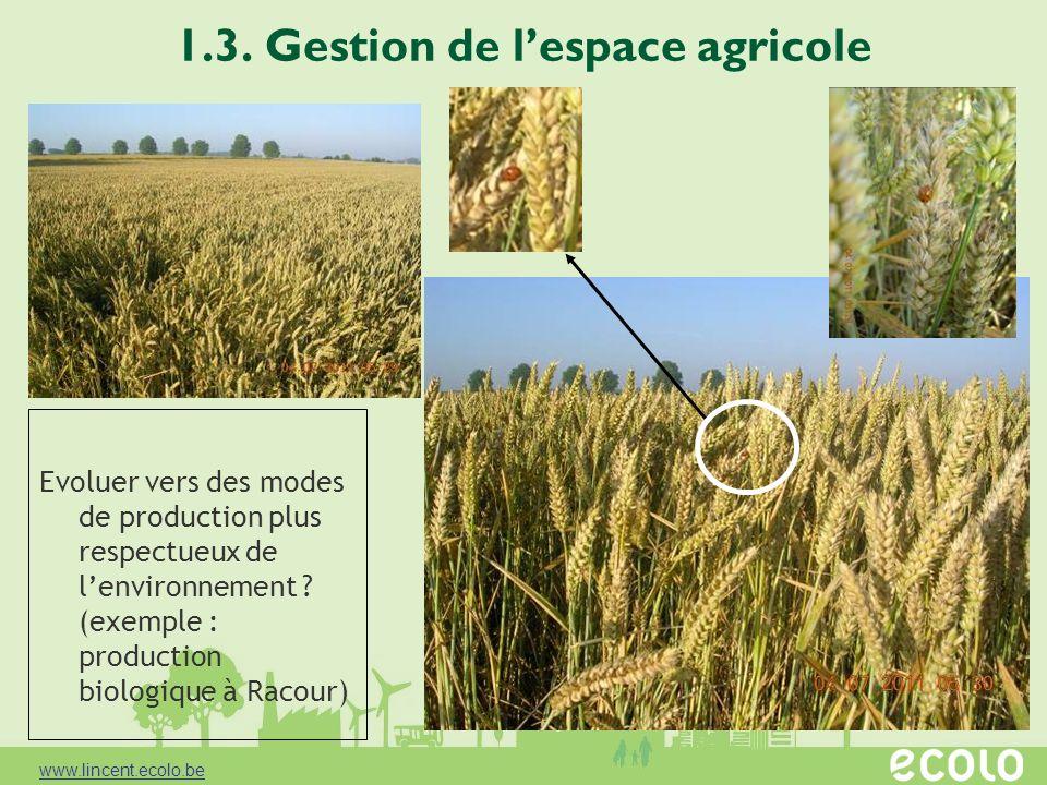 1.3. Gestion de lespace agricole Evoluer vers des modes de production plus respectueux de lenvironnement ? (exemple : production biologique à Racour)