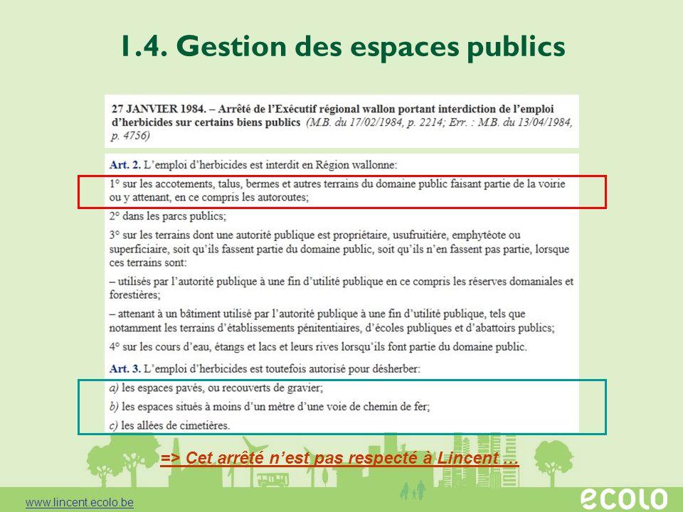 1.4. Gestion des espaces publics => Cet arrêté nest pas respecté à Lincent … www.lincent.ecolo.be