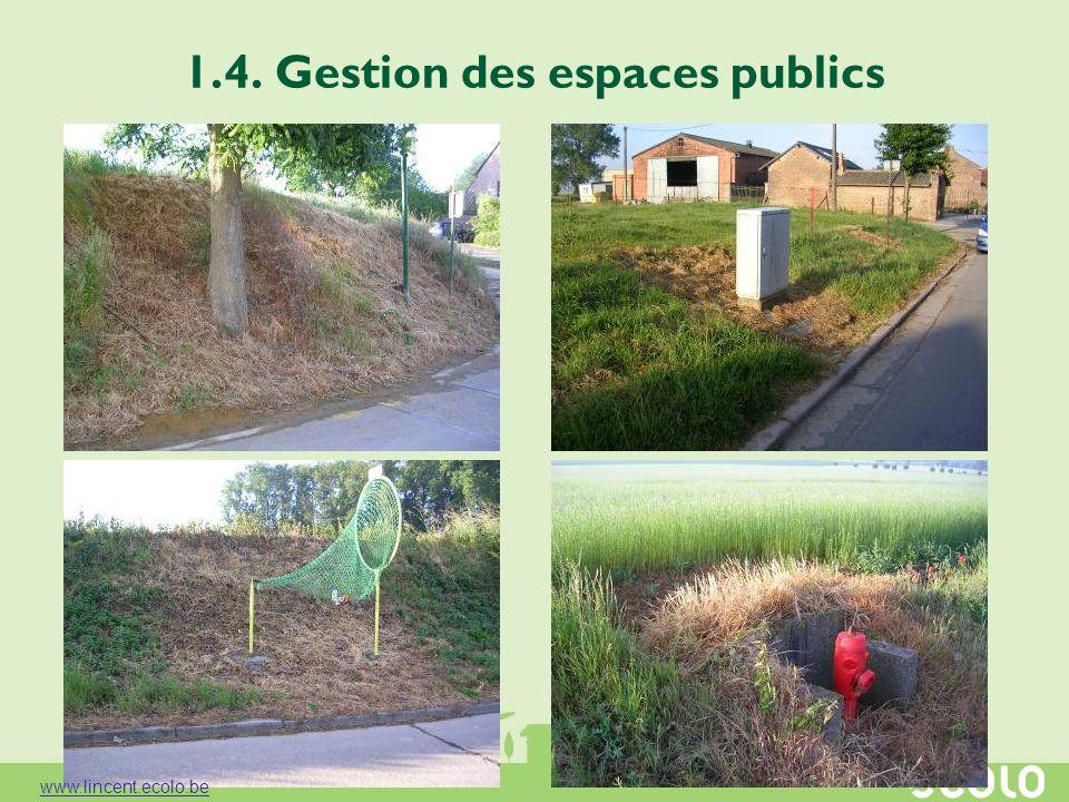 1.4. Gestion des espaces publics www.lincent.ecolo.be