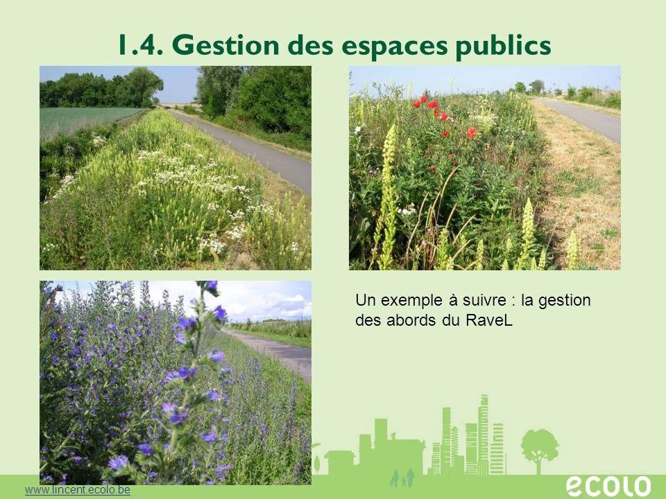 1.4. Gestion des espaces publics Un exemple à suivre : la gestion des abords du RaveL www.lincent.ecolo.be