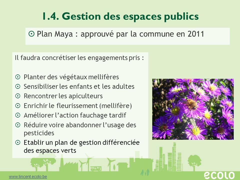 1.4. Gestion des espaces publics Plan Maya : approuvé par la commune en 2011 Il faudra concrétiser les engagements pris : Planter des végétaux mellifè