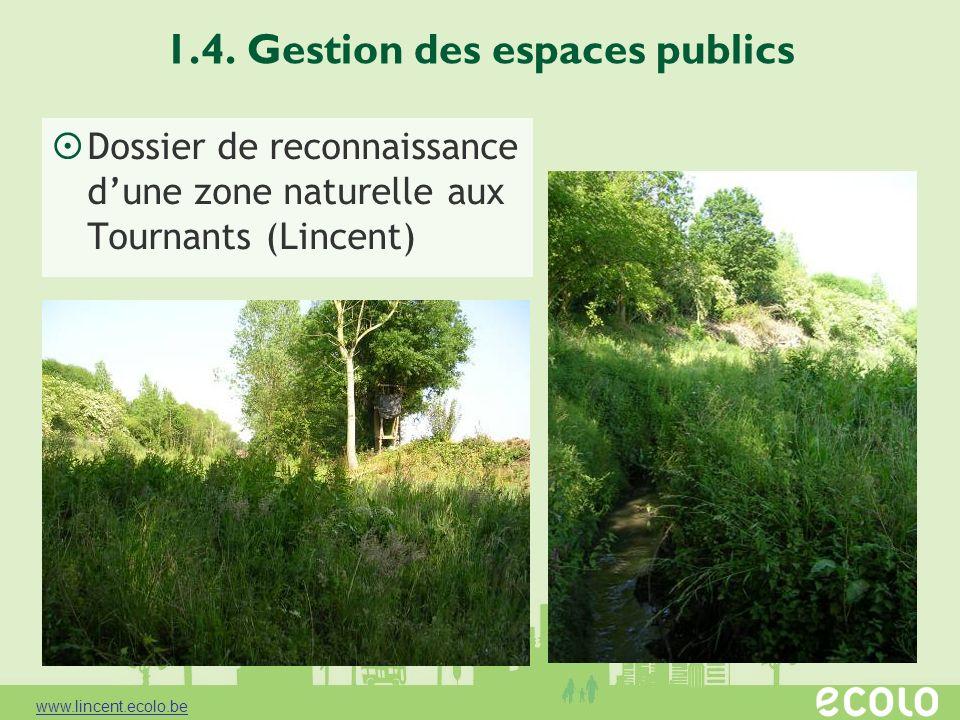 1.4. Gestion des espaces publics Dossier de reconnaissance dune zone naturelle aux Tournants (Lincent) www.lincent.ecolo.be