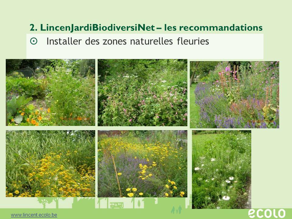 2. LincenJardiBiodiversiNet – les recommandations Installer des zones naturelles fleuries www.lincent.ecolo.be